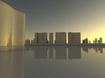 Landschaft von Wolkenkratzern in der Wiedergabe der Stadt 3D Stockfoto
