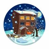 Landschaft - Winterhaus, der Mond und Schnee. Bäume, Stockfotografie