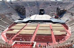 Landschaftaufbau in der alten Verona-Arena, Italien Stockfoto