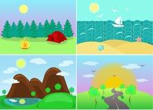 Landschaften mit Ansichten von Wäldern, Berge, Meer, Landstraße Lizenzfreies Stockbild