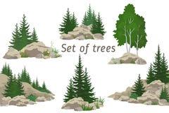 Landschaften mit Bäumen und Felsen Stockbild