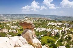 Landschaften von Cappadocia, die rosa Klippen in der Nähe von Goreme Lizenzfreie Stockbilder