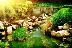Landschaftlich gestalteter Garten mit Teich Stockbild