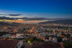 Landschafts-Caracas-Nachtsonnenunterganghimmel Lizenzfreie Stockfotografie