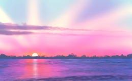 Landschafts-/Sonnenuntergang-/See-/Digital-Malerei Lizenzfreies Stockfoto