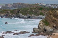 Landschaftsansicht über englische Küstenlinie Stockfotos
