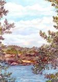Landschaftsansicht der Nordnatur - Felsen stützen, See und Kiefer unter Vektor Abbildung