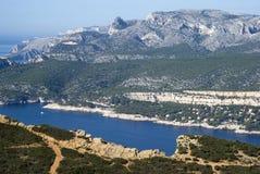 Landschaftsansicht des Nationalparks Calanques Lizenzfreies Stockfoto