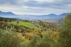 Landschaftsansicht an einem Herbsttag in Toskana stockfoto