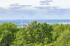 Landschaftsansicht mit einem Wald und einem Windpark Lizenzfreie Stockbilder