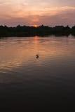 Landschaftsansicht mit Sonnenuntergangzeiten Stockbild