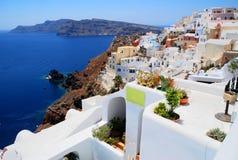 Landschaftsansicht in Santorini Stockbilder