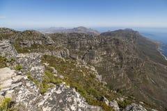 Landschaftsansicht vom Tabellenspitzeberg, Cape Town Lizenzfreie Stockbilder