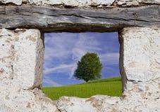 Landschaftsansicht von einem Fenster Stockfotos