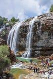 Landschaftsansicht von Tortums-Wasserfall in Tortum lizenzfreie stockfotos