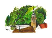 Landschaftsansichtillustration, -kirche und -weinberge Stockbilder