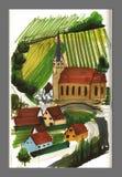Landschaftsansichtillustration, -kirche und -weinberge Stockfoto