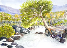 Landschaftsaquarell gemalt Lizenzfreie Stockfotos