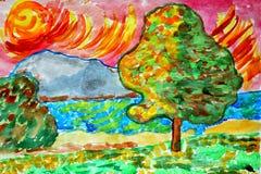 Landschaftsaquarellnaturbaum-Wassersommer lizenzfreie abbildung