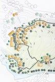 Landschaftsarchitekt Designing auf Standortanalyseplan Lizenzfreies Stockfoto