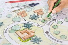 Landschaftsarchitekt-Designs Blueprints For-Erholungsort lizenzfreie stockfotografie