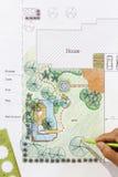 Landschaftsarchitekt-Designwasser-Gartenpläne Stockbilder
