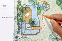 Landschaftsarchitekt-Designwasser-Gartenpläne Stockfoto