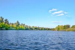 Landschaftsbild einer großen Flussufervegetation Stockbild