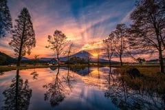 Landschaftsbild von Mt Fuji mit großen Bäumen und See bei Sonnenaufgang in Fujinomiya, Japan stockbilder