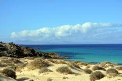 Landschaftsdünen von Corralejo, Fuerteventura, Kanarische Inseln, Spanien Stockfotografie