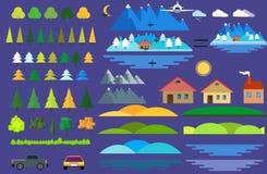 Landschaftserbauerikonen eingestellt Häuser, Bäume und Architekturzeichen für Karte, Spiel, Beschaffenheit, Berge, Fluss, Sonne Lizenzfreie Stockfotografie