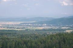 Landschaftsfelder im Herbst - Weinleseeffekt Lizenzfreie Stockfotos