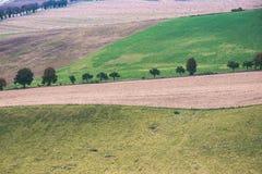 Landschaftsfelder im Herbst - Weinleseeffekt Stockfoto