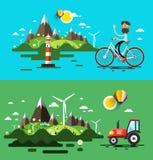 Landschaftsflacher Design-Satz Lizenzfreie Stockbilder