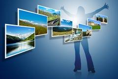 Landschaftsfotos auf blauem Hintergrund Stockbilder