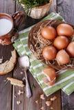 Landschaftsfrühstück mit Eiern Lizenzfreies Stockfoto