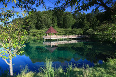 Landschaftsgazebo-Reflexions-botanische Gärten VA Lizenzfreie Stockfotos