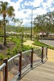 Landschaftsgestaltung, Bahnen und neue residental Entwicklung Lizenzfreies Stockbild