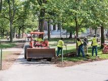 Landschaftsgestaltung der Mannschaft in Harvard-Yard, Cambridge, MA Lizenzfreie Stockfotografie