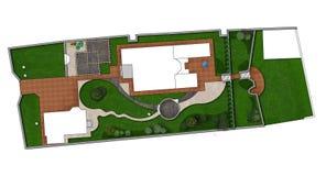 Landschaftsgestaltung des Rahmenplans, 2D Skizze stock abbildung
