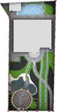 Landschaftsgestaltung des Rahmenplans, 2D Skizze Stockfoto