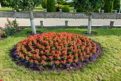 Landschaftsgestaltung von Blumenbeeten stockfoto