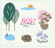 Landschaftsgestaltungsvektor des Naturgartens Lizenzfreie Stockfotos