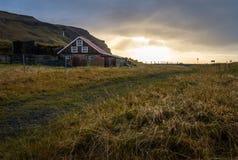 Landschaftshauseinfassung durch gelbe Rasenfläche während der Sonnenaufgangzeit stockbild