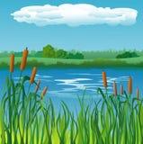Landschaftshintergrund mit Fluss Stockfoto
