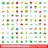 100 Landschaftsikonen eingestellt, Karikaturart Stockbilder