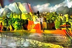 Landschaftsinterpretation im Stil des Surrealismus Lizenzfreies Stockbild