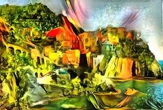 Landschaftsinterpretation im Stil des Surrealismus Stockbild