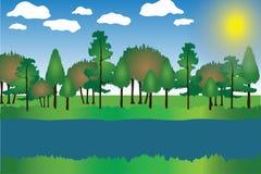 Landschaftskarikatur-Vektor-Illustration mit Bäumen, Gras, Fluss, Himmel, Wolken und Sun Stockbild