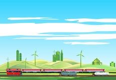 Landschaftslandschaft, Zug auf Eisenbahn, highwayr lizenzfreie stockfotografie